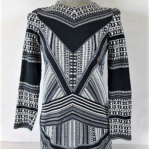 H&M WOMENS  X Small BLACK WHITE STRETCH TOP (J)E1